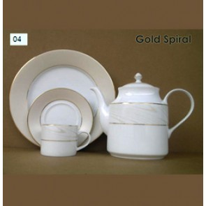 Porcelain Tea Set - Gold Spiral