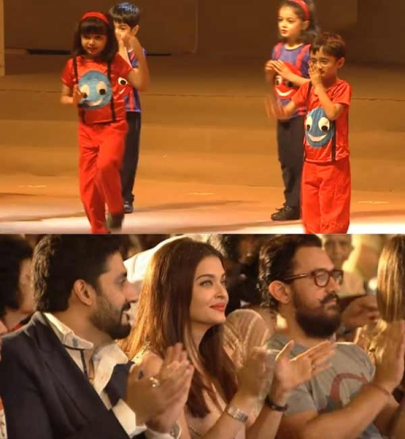 Aishwarya-Abhishek, Aamir Khan watch Aaradhya Bachchan and Azad Rao Khan's annual day act