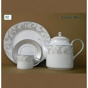 Porcelain Tea Set - Silver Mix