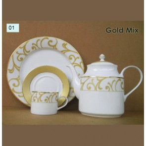 Porcelain Dinner Set - Gold Mix