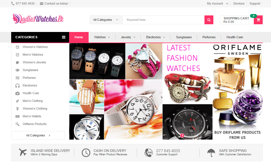 LadiesWatches.lk Online Shopping Web Site