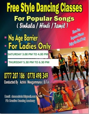 Free Style Dance Classes in  Nugegoda for Ladies