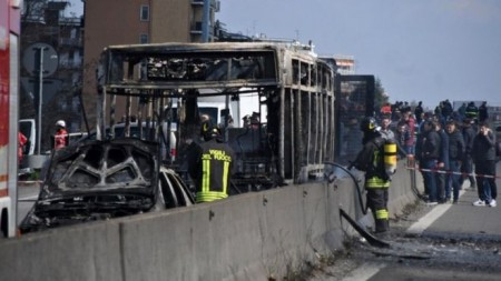 Italian driver hijacks and torches school bus full of children